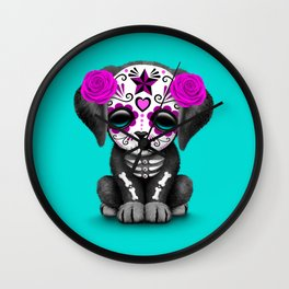 Cute Purple and Blue Day of the Dead Puppy Dog Wall Clock