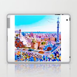 Park Guell Watercolor painting Laptop & iPad Skin