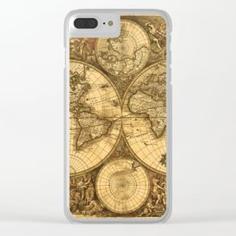 Antique World Map Clear iPhone Case