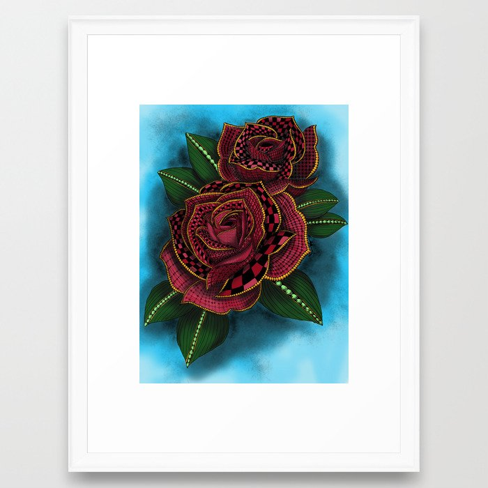 Zentangle Inspired Art Tattoo Rose Colored Framed Art Print By