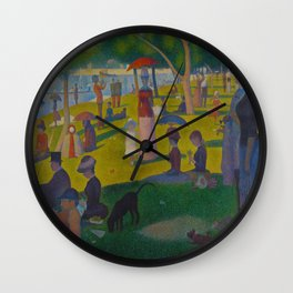 A Sunday Afternoon on the Island of La Grande Jatte Painting by Georges Seurat Pointillism Wall Clock