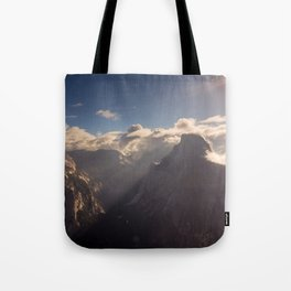 Sunrays Over Half Dome Tote Bag