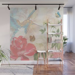 Hummingbird & Flowers Nature Collage Wall Mural