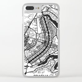 Brasilia Map Gray Clear iPhone Case
