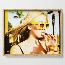 5395 Blonde Girl in Lemon Sunglasses Serving Tray