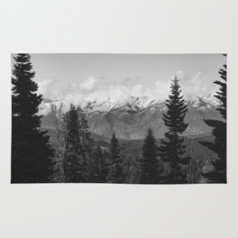 Snow Capped Sierras - Black and White Nature Photography Rug