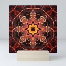 Kaleidoscope fantasy on lights in the shape of a bison! Mini Art Print