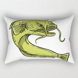 Devil Catfish Jumping Drawing Rectangular Pillow