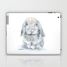 Mini Lop Gray Rabbit Watercolor Painting Laptop & iPad Skin