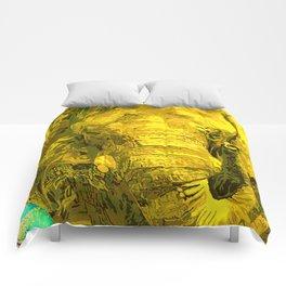 Sunshine Yellow Elephant art Comforters