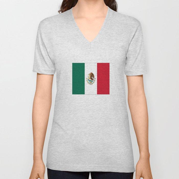 Flag of mexico- mexico,mexico city,mexicano,mexicana,latine,peso,spain,Guadalajara,Monterrey Unisex V-Neck