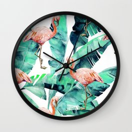 Tropical Flamingo Wall Clock