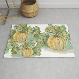 Antique Botanical Sketch Pumpkin Rug