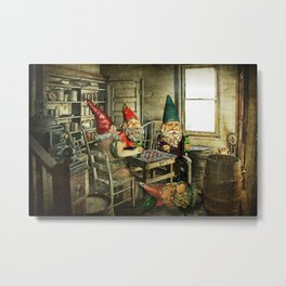 Garden Gnomes Playing Checkers Metal Print