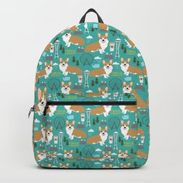 Corgi seattle washington welsh corgi pattern print dog lover gifts space needle ferris wheel coffee Backpack