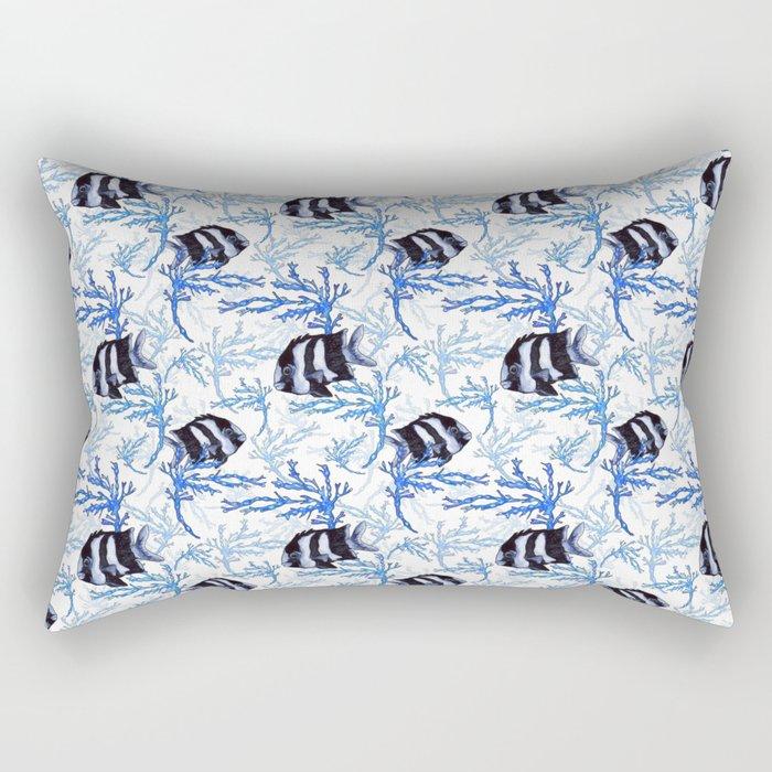 Damselfish in Blue Coral Rectangular Pillow