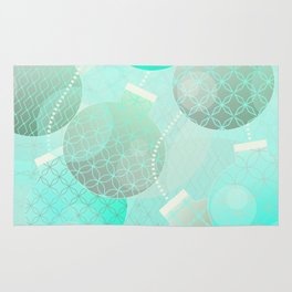 Silver and Mint Blue Christmas Ornaments Rug