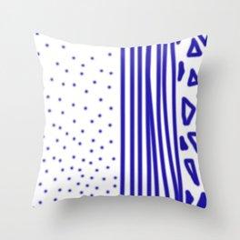 Ethnic dots blue on white Throw Pillow