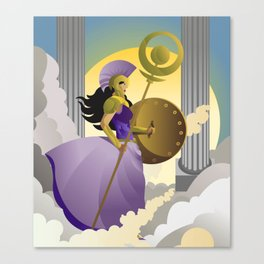 greek roman goddess athena minerva with shield and staff in the sky Canvas Print