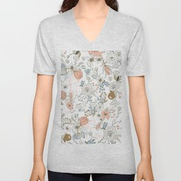 Abstract modern coral white pastel rustic floral Unisex V-Neck