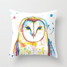 Barn Owl - Watercolor Painting Throw Pillow