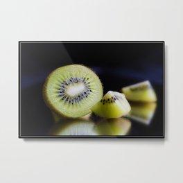 Sliced Kiwi Fruit - Kitchen or Cafe Decor Metal Print