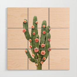 CACTUS AND ROSES Wood Wall Art