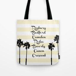 Beverly Hills Street Names Palm Trees Yellow Stripes Tote Bag