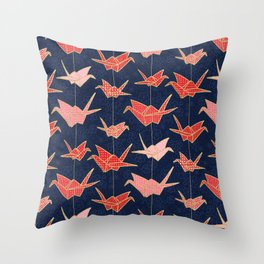 Red origami cranes on navy blue Throw Pillow