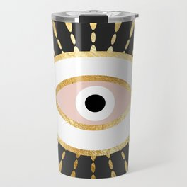 gold foil evil eye in blush Travel Mug