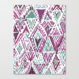 PLUM TRIUMPHANT TRIBAL Ikat Watercolor Canvas Print