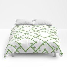 Bamboo Chinoiserie Lattice in White + Green Comforters