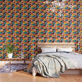 COLORED PUGS PATTERN no2 Wallpaper