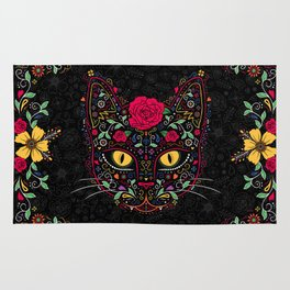 Day of the Dead Kitty Cat Sugar Skull Rug