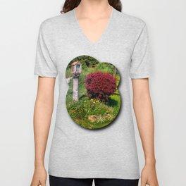 Wayside cross and a bush Unisex V-Neck