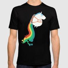 Fat Unicorn on Rainbow Jetpack Mens Fitted Tee LARGE Black