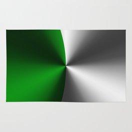 Green & Silver Faux Metallic Design Rug
