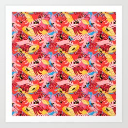 Beautiful illustration of a jungle with the frogs Art Print