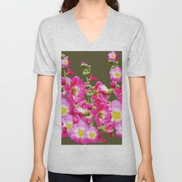 Pink Florals On Puce Color Art Unisex V-Neck