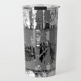 Tropical Abstract Trees in Steely Gray Travel Mug