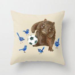 Blue wrens Wombat Football Throw Pillow