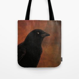 Crow Portrait In Black And Orange Tote Bag