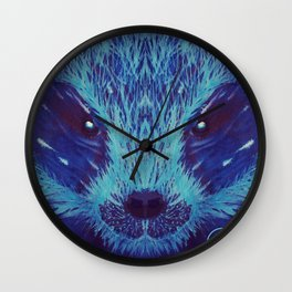 Blue Honey Badger Wall Clock