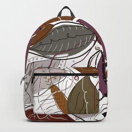 Active Wear Abstract Leaves Pattern Backpack