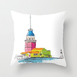 Maiden's Tower, Istanbul Throw Pillow