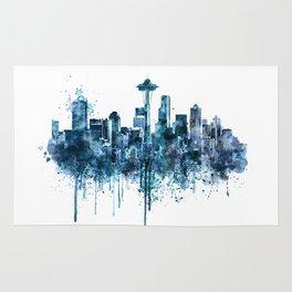 Seattle Skyline monochrome watercolor Rug