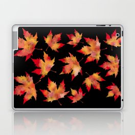 Maple leaves black Laptop & iPad Skin