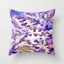 Foliage Abstract Camouflage In Pale Purple and Violet Pastels Throw Pillow