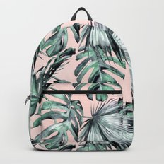 Island Love Coral Pink + Green Backpacks