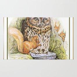 Squirrels tease a sleeping Owl Rug